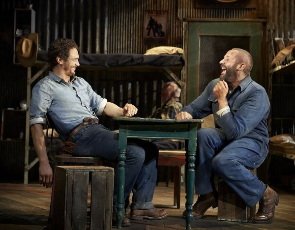 James Franco as George and Chris O'Dowd as Lennie in John Steinbeck's Of Mice and Men, directed by Anna D. Shapiro, at the Longacre Theatre.