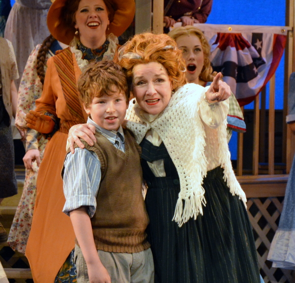 Patti Mariano (r) as Mrs. Paroo with Jeffrey Kishinevsky as Winthrop Paroo in John W. Engeman Theater at Northport's production of The Music Man.