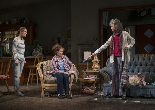 Zoe Perry as Manda, Deirdre O'Connell as Mom, and Martha Lavey as Tress in Mona Mansour's The Way West, directed by Amy Morton, at Steppenwolf Theatre Company.