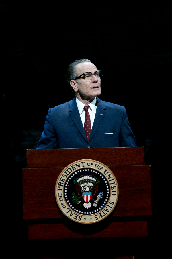 Bryan Cranston as President Lyndon B. Johnson in Robert Schenkkan's All the Way, directed by Bill Rauch, at the Broadway's Neil Simon Theatre.