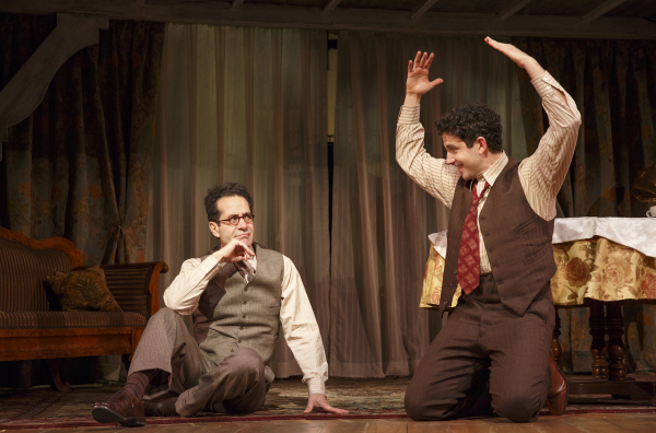 Tony Shalhoub as George S. Kaufman and Santino Fontana as a young Moss Hart in Lincoln Center Theater's Act One, written and directed by James Lapine, at Broadway's Vivian Beaumont Theater.