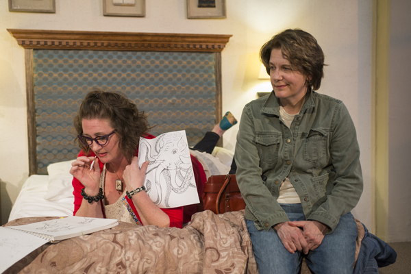 Kristen Fitzgerald as Angie and Natalie West as Beth in Maria Wegrzyn's Mud Blue Sky, directed by Shade Murray, at A Red Orchid Theatre.