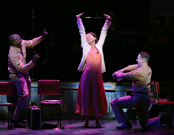 Joshua Henry as Flick, Sutton Foster as Violet, and Colin Donnell as Monty in Jeanine Tesori and Brian Crawley's Violet, directed by Leigh Silverman, at the American Airlines Theatre.