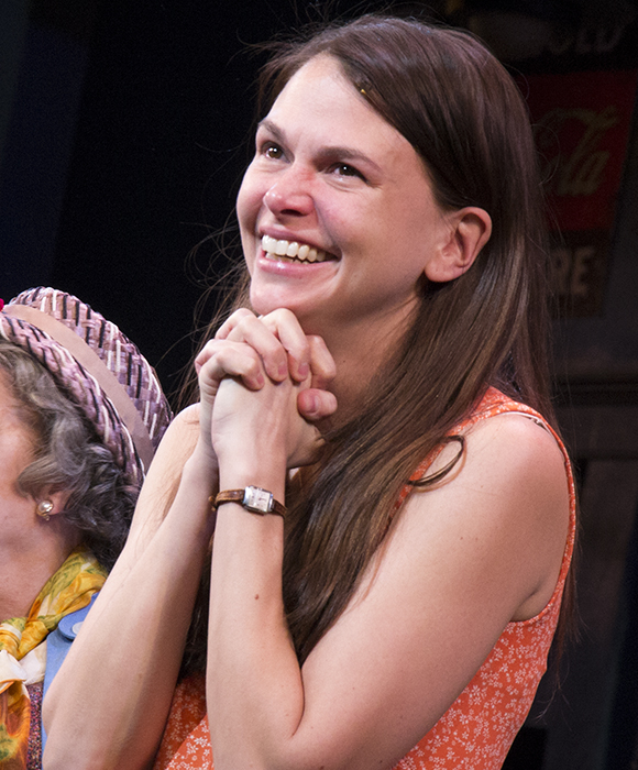 Sutton Foster takes in the audience's appreciation on the opening night of Violet at the American Airlines Theatre.