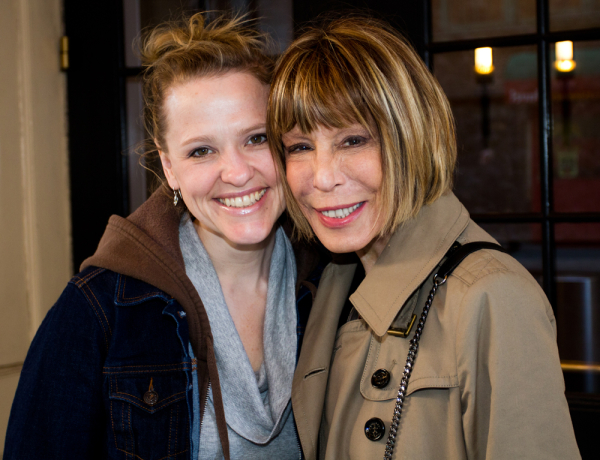 Anika Larsen and Cynthia Weil pose in front of Broadway's Stephen Sondheim Theatre, where Larsen plays Weil eight times a week in Beautiful — The Carole King Musical.