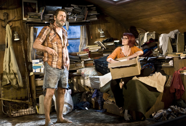 Nick Offerman and Megan Mullally inhabit a very messy trailer in The New Group's production of Sharr White's Annapurna, directed by Bart DeLorenzo, at the Acorn Theatre.