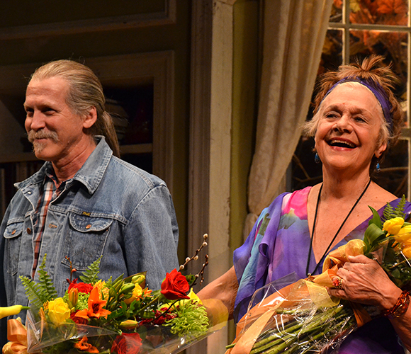 Stephen Spinella and Estelle Parsons take their bow on the opening night of The Velocity of Autumn at the Booth Theatre.