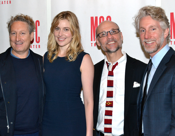 Greta Gerwig poses with MCC head honchos Bernie Telsey (left), Will Cantler, and Blake West.