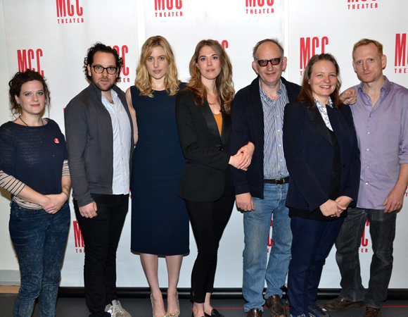 The creative team and cast of The Village Bike: playwright Penelope Skinner, director Sam Gold, Greta Gerwig, Lucy Owen, Max Baker, Cara Seymour, and Scott Shepherd.