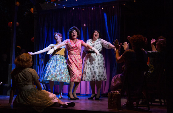 Nick Westrate, Patrick Page, and Tom McGowan receive rapturous applause in Harvey Fierstein's Casa Valentina, directed by Joe Mantello, at MTC's Samuel J. Friedman Theatre.