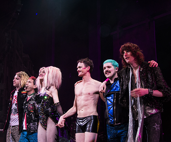 Neil Patrick Harris, Lena Hall, and the Angry Inch Band take their bow on the opening night of Hedwig and the Angry Inch at the Belasco Theatre.