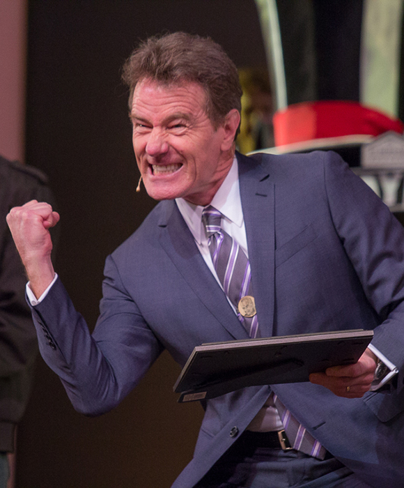 Bryan Cranston is thrilled to find out that All the Way received a fundraising prize at the 2014 Easter Bonnet Competition.