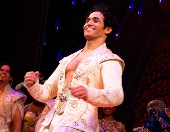 Adam Jacobs stars in the title role in Disney's Aladdin, directed by Casey Nicholaw, at the New Amsterdam Theatre.