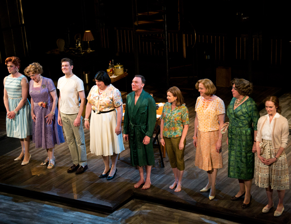 Casa Valentina stars Nick Westrate, John Cullum, Gabriel Ebert, Tom McGowan, Patrick Page, Mare Winningham, Reed Birney, Larry Pine, and Lisa Emery take their bows on opening night at the Samuel J. Friedman Theatre.