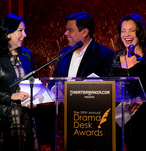 Kristen Anderson-Lopez, Robert Lopez, and Fran Drescher crack up as they read the Drama Desk nominations.