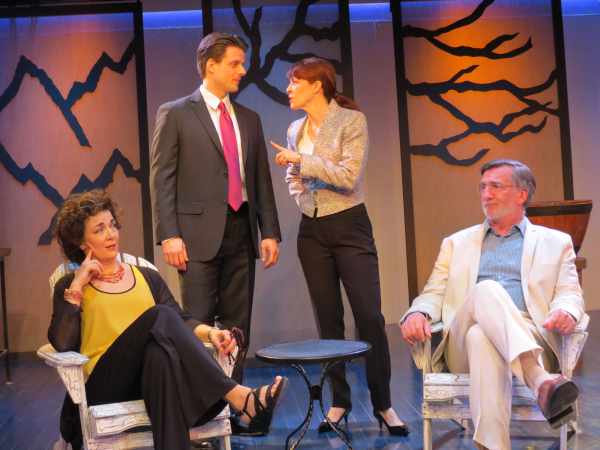 Katrina Ferguson (Isla), Michael Zlabinger (Will), Eva Kaminsky (Gwynn), and John Little (John) in the world premiere of Lee Blessing's A View of the Mountains, directed by Evan Bergman, at New Jersey Repertory Company.