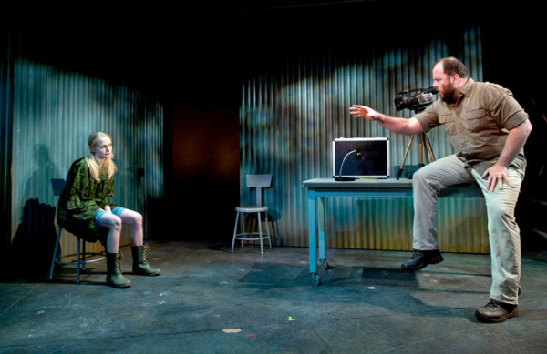 Erin Wilhelmi as Julie and Chris Sullivan as Karl in The Civilians' The Great Immensity, written and directed by Steve Cosson, at the Public Theater.