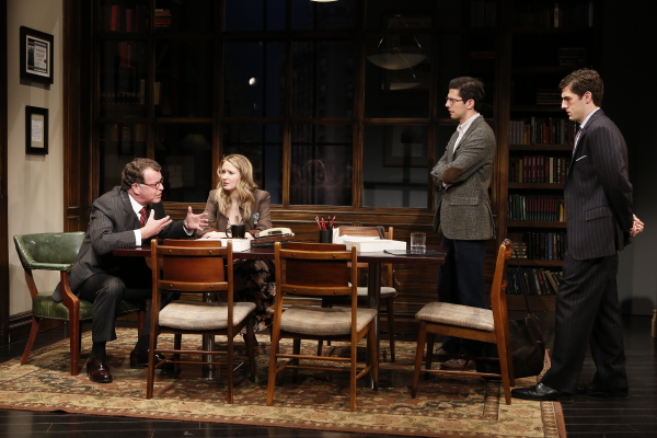 John Noble, Halley Feiffer, Daniel Eric Gold, and Carter Hudson star in the revival of Jon Robin Baitz's The Substance of Fire, directed by Trip Cullman, at Second Stage Theatre.
