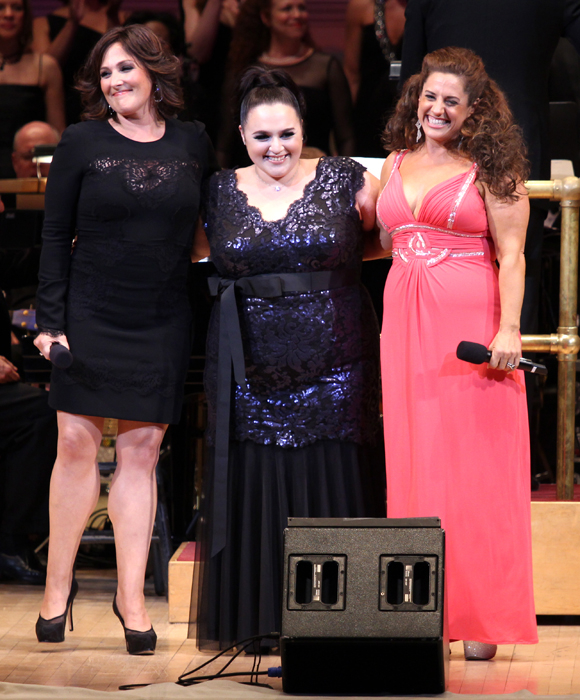 Hairspray's Tracy Turnblads — Ricki Lake (original film), Nikki Blonsky (musical film remake), and Marissa Jaret Winokur (stage musical) — take the stage at Carnegie Hall to salute the show's songwriters, Marc Shaiman and Scott Wittman.