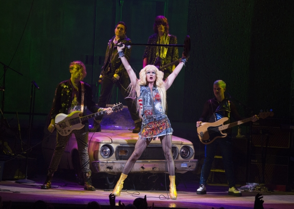 Tony Award nominees Neil Patrick Harris (center) and Lena Hall (second from left) with the Angry Inch in the 8-time Tony-nominated Hedwig and the Angry Inch.
