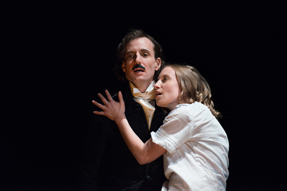 Ean Sheehy and Alessandra L. Larson star in Red-Eye to Havre de Grace, directed by Thaddeus Phillips, at New York Theatre Workshop.