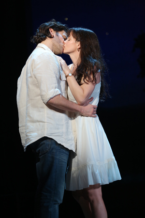 Kelli O'Hara and Steven Pasquale star in the Broadway production of Jason Robert Brown and Marsha Norman's The Bridges of Madison County, directed by Bartlett Sher, at the Gerald Schoenfeld Theatre.
