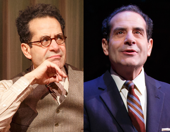 Tony Shalhoub as George S. Kaufman (left) and Moss Hart (right) in James Lapine's Act One at Lincoln Center Theater.