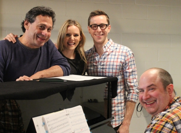 Director Gordon Edelstein, costars Katie Rose Clarke and Adam Halpin, and musical director James Sampliner in the rehearsal room.