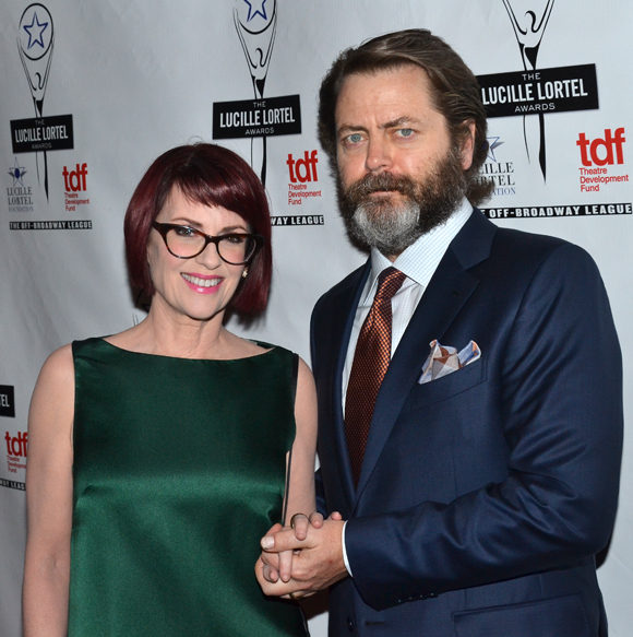 Megan Mullally and Nick Offerman served as hosts for the Lucille Lortel Awards on May 5.