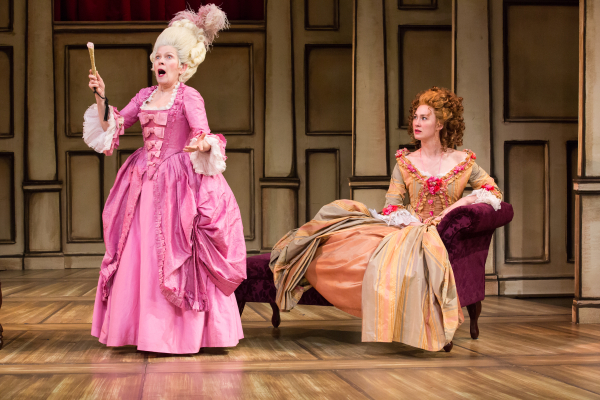 "Carol Schultz as Mrs. Malaprop and Jessica Love as Lydia Languish in The Pearl Theatre Company's production of Richard Brinsley Sheridan's ""The Rivals"", directed by Hal Brooks."