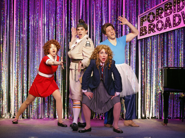 Mia Gentile, Marcus Stevens, Carter Calvert, and Scott Richard Foster perform a ditty about the exploited child actors of the commercial theater in Gerard Alessandrini's Forbidden Broadway Comes Out Swinging!, directed by Phillip George, at the Davenport Theatre.