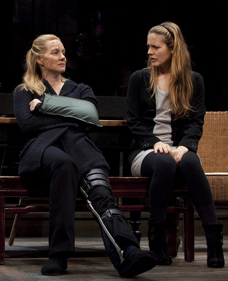 Laura Linney as Sarah and Alicia Silverstone as Mandy in Donald Margulies' Time Stands Still, directed by Daniel Sullivan at Broadway's Samuel J. Friedman Theatre, 2010.