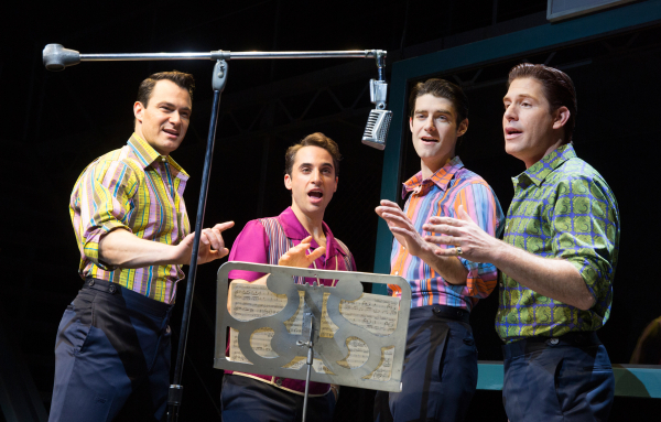 Matt Bogart, Joseph Leo Bwarie, Drew Gehling, and Richard H. Blake in Jersey Boys, directed by Des McAnuff, at Broadway's August Wilson Theatre.