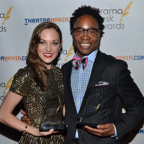 Laura Osnes and Billy Porter pose with their 2013 Drama Desk Awards.