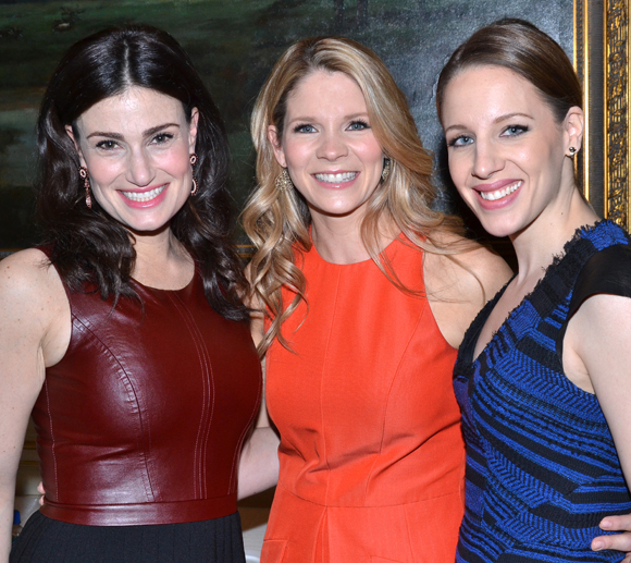 Outstanding Actress in a Musical nominees Idina Menzel, Kelli O'Hara, and Jessie Mueller at the 2014 Drama Desk Award Nominees Reception.