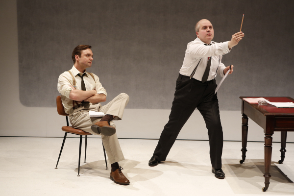 Tom McHugh in the role of Screenwriter with Martin Miller as famed director Alfred Hitchcock in David Rudkin's The Lovesong of Alfred J. Hitchcock, directed by Jack McNamara, at 59E59 Theaters.