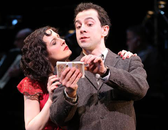 Jennifer Bowles as Irma and Rob McClure as Nestor in a scene from John Doyle's production of Irma La Douce at New York City Center.
