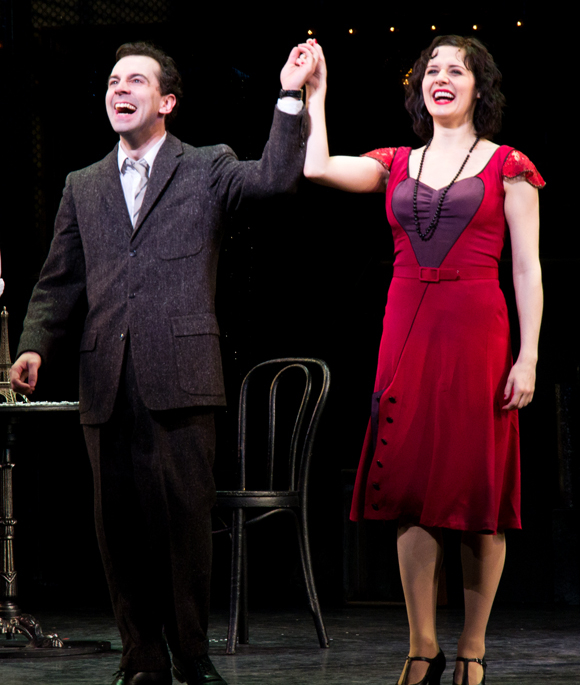 Rob McClure and Jennifer Bowles take their bow on the opening night of Irma La Douce at New York City Center Encores!