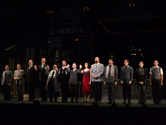 The cast of Irma La Douce at New York City Center Encores! takes its bow on opening night.