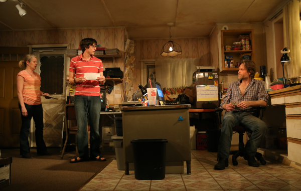 Tasha Lawrence, Gideon Glick, and Michael Laurence star in Samuel D. Hunter's The Few, directed by Davis McCallum, at Rattlestick Playwrights Theater.