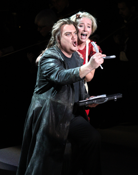 Bryn Terfel as the Demon Barber of Fleet Street and Emma Thompson as Mrs. Lovett in Sweeney Todd, directed by Lonny Price, at Avery Fisher Hall.
