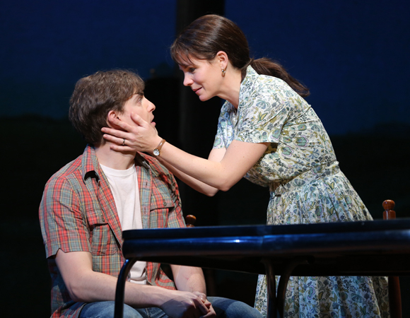 Derek Klena as Michael with his onstage mother, Kelli O'Hara, as Francesca in The Bridges of Madison County.