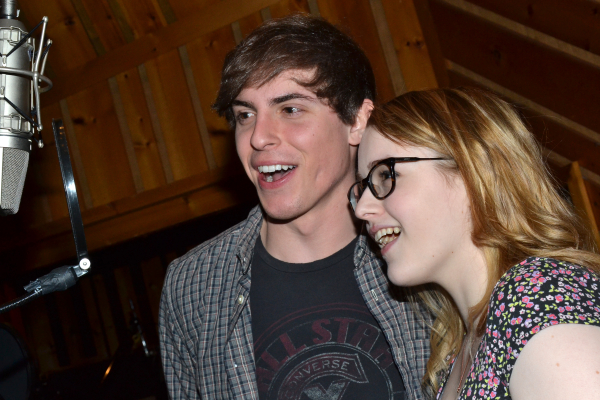 Derek Klena with his onstage sister, Caitlin Kinnunen, in the recording session for The Bridges of Madison County, scheduled to play its final Broadway performance on May 18.