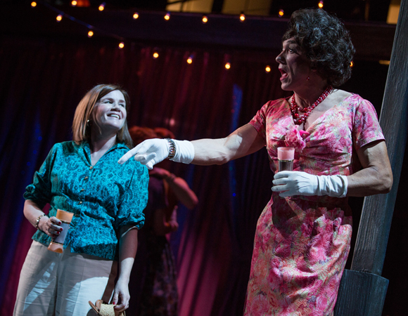 Mare Winningham as Rita and Patrick Page as Valentina in a scene from Harvey Fierstein's Casa Valentina, directed by Joe Mantello, at the Samuel J. Friedman Theatre.
