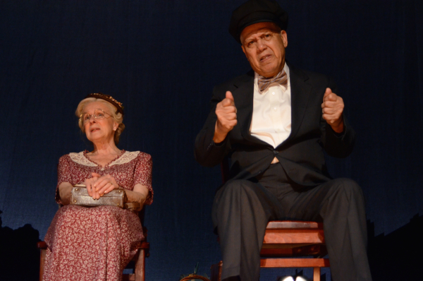 Joy Franz as Daisy and Larry Marshall as Hoke in Harbor Lights Theater Company's production of Alfred Uhry's Driving Miss Daisy, directed by Stephen Nachamie, at the Music Hall at Snug Harbor Cultural Center.
