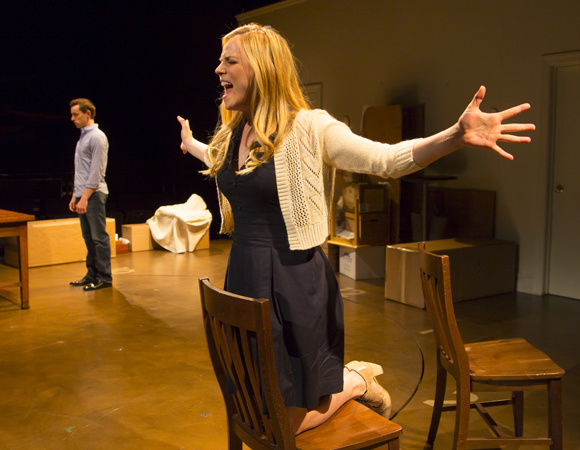 Adam Halpin and Katie Rose Clarke costar as Cathy and Jamie in The Last Five Years at New Haven's Long Wharf Theatre.