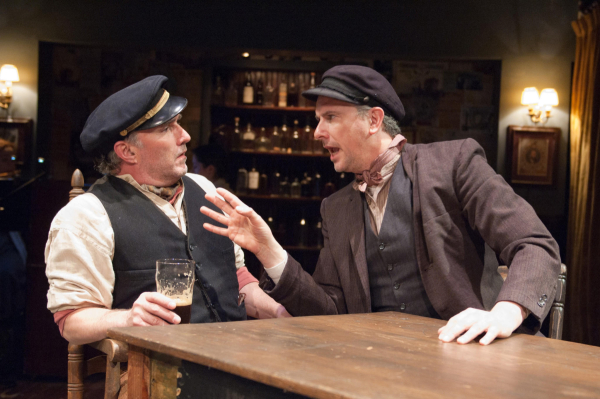 "Ron Rains as ""Captain"" Jack Boyleand at the pub with James Houghton as ""Joxer"" Daly in TimeLine Theatre's production of Juno."