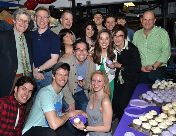 Cinderella family members of past and present celebrate the show's 500th performance at the Broadway Theatre.