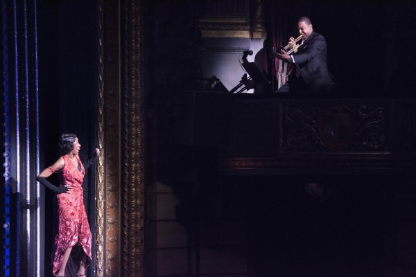 Current Tony nominee Adriane Lenox soaks in the moment as Wynton Marsalis shows off his trumpeting skills.