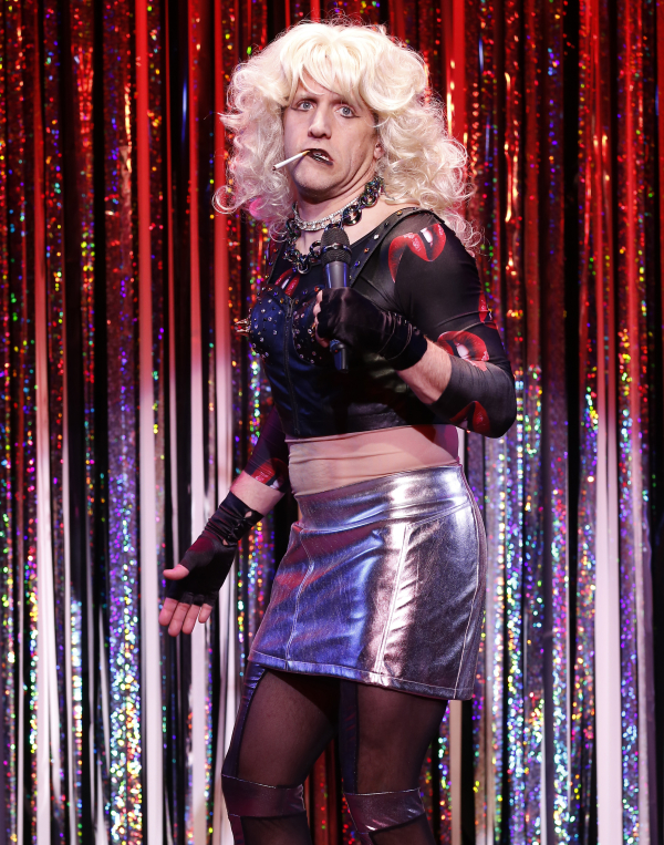 Scott Richard Foster parodies Broadway's Hedwig in a scene from Gerard Alessandrini's Forbidden Broadway Comes Out Swinging!